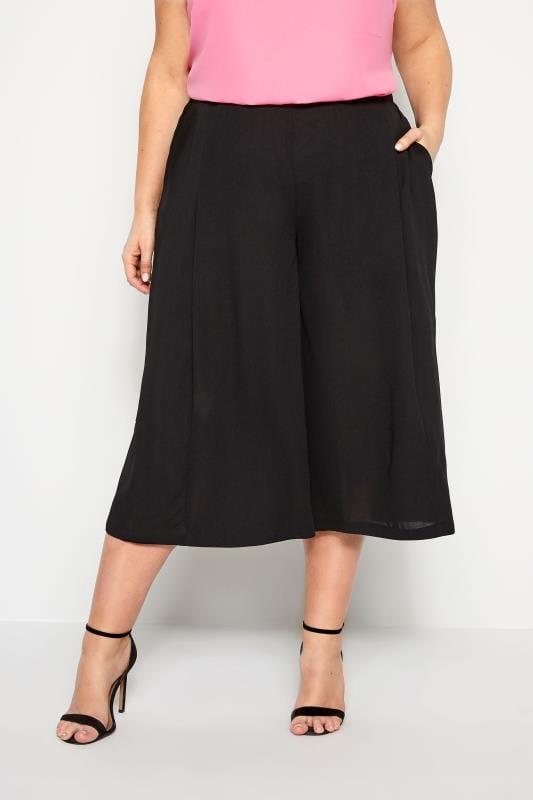 Plus Size Culottes Black Crepe Wide Leg Culottes