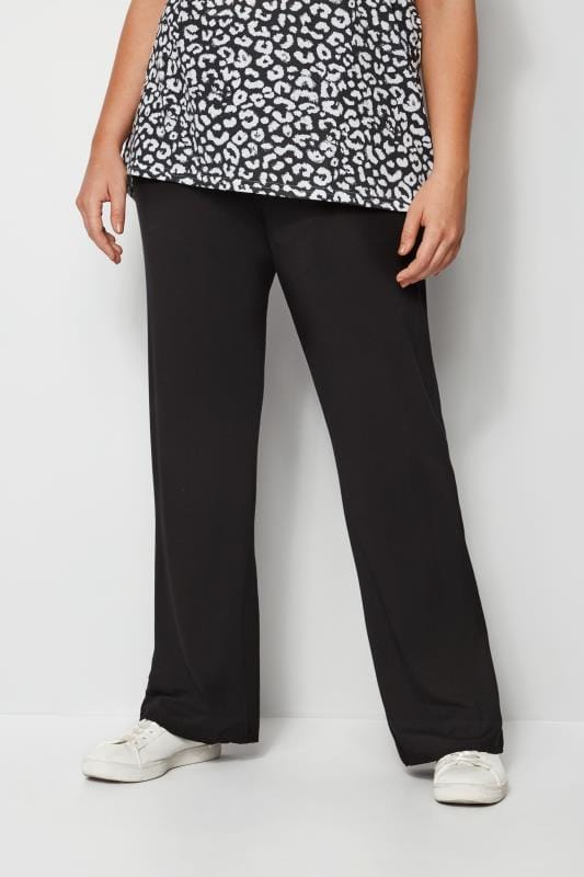 Plus Size Palazzo & Wide Leg Pants Black Wide Leg Pull On Stretch Jersey Yoga Trousers