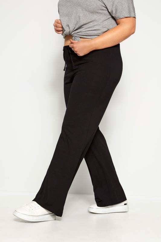 Wide Leg & Palazzo Trousers dla puszystych Black Wide Leg Pull On Stretch Jersey Yoga Trousers