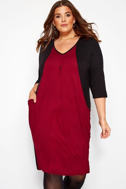 Black & Wine Colour Block Gathered Drape Pocket Dress