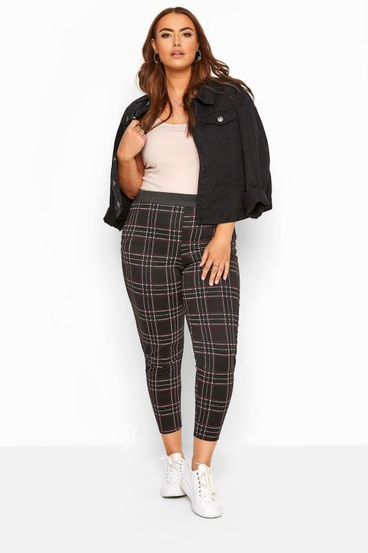 Plus Size Harem Trousers Black & Wine Red Check Trousers