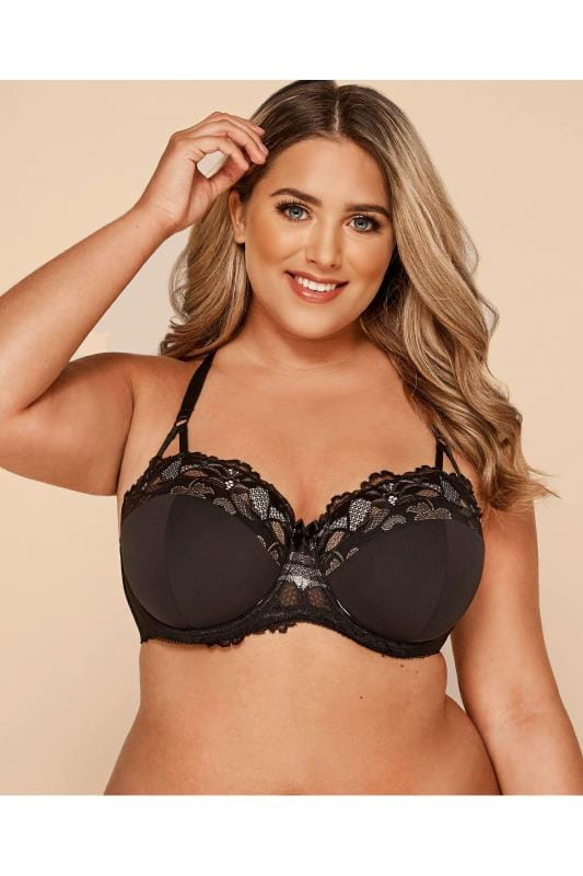 Plus Size Underwired Bras Black Wired Lace Bra With Crossover Back