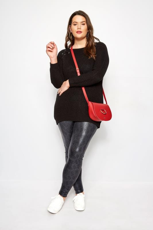 Black Knitted Lace Up Jumper