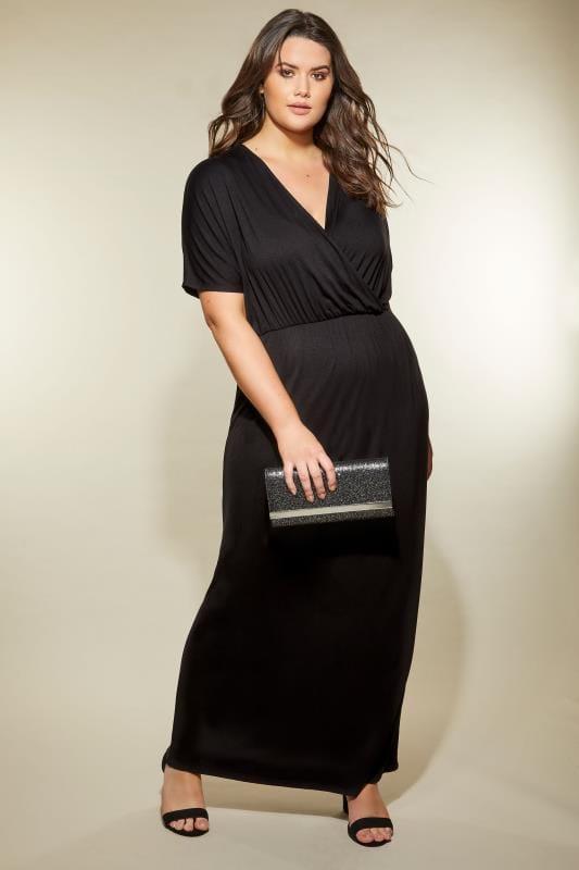 Black Wrap Jersey Maxi Dress