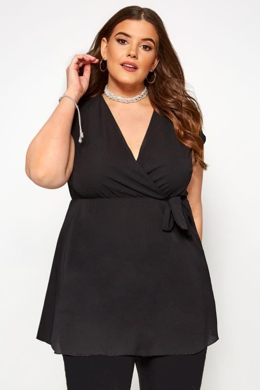 Plus Size Blouses & Shirts Black Wrap Top