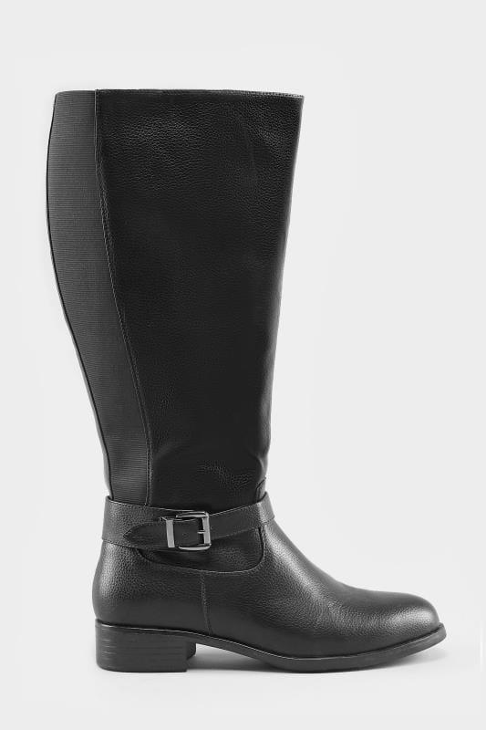 différemment 290c4 55235 Bottes Cavalières à Boucles Mollets XL- Noir Pieds Larges EEE