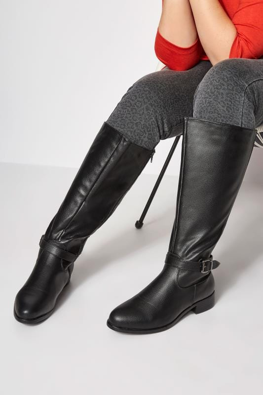 Plus Size Boots Black XL Calf Buckle Rider Boot In Extra Wide Fit