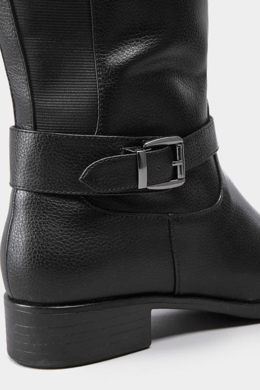 Black XL Calf Buckle Rider Boot In Extra Wide Fit