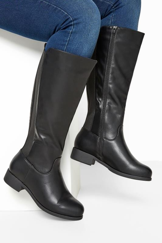 Yours Black XL Calf Knee High Boots In Extra Wide Fit