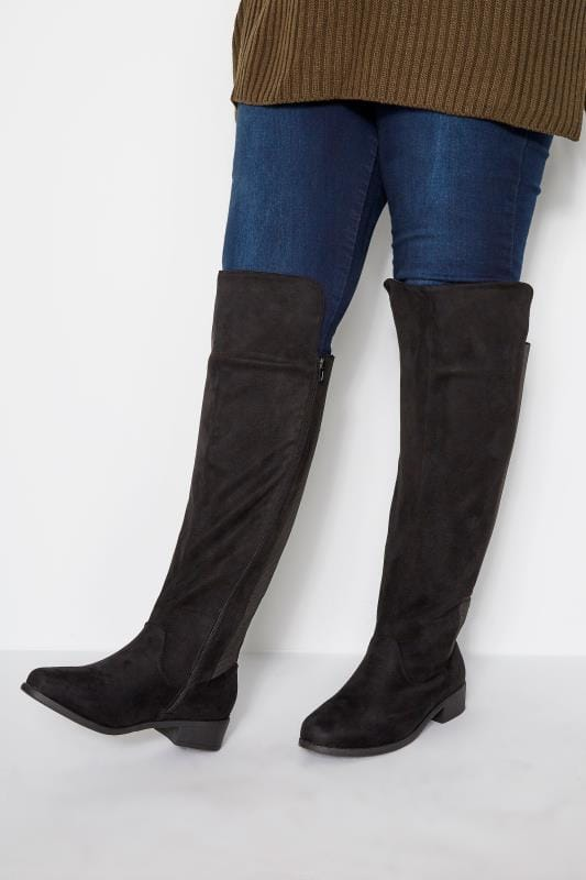 Wide Fit Boots Black Stretch Faux Suede Over The Knee Boots In Wide Fit