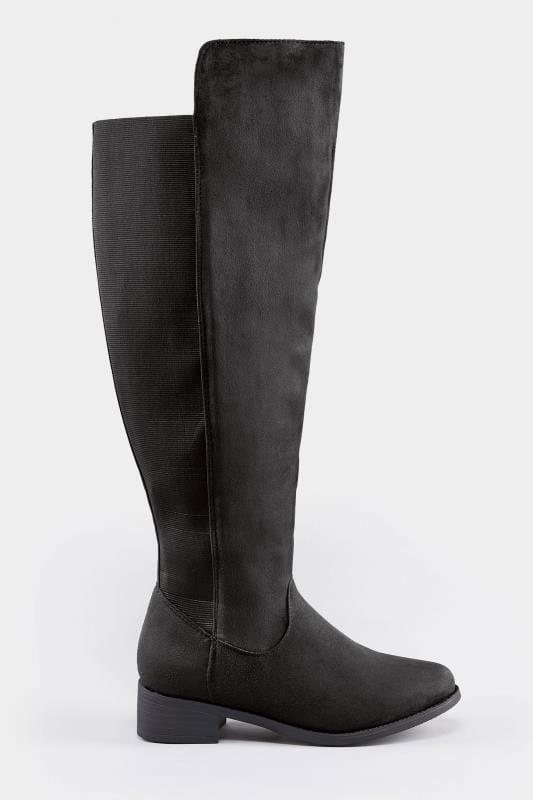 Black Stretch Vegan Suedette Over The Knee Boots In Extra Wide Fit
