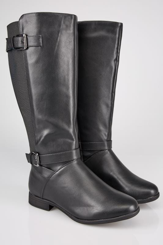Black XL Calf Riding Boots With Stretch Panels & Buckle Details In TRUE EEE Fit, Sizes 4EEE to 10EEE