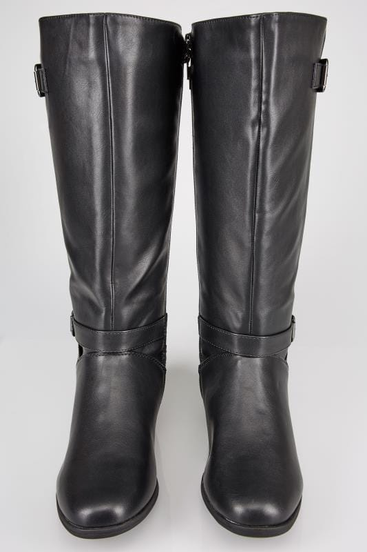Black XL Calf Riding Boots With Stretch Panels & Buckle