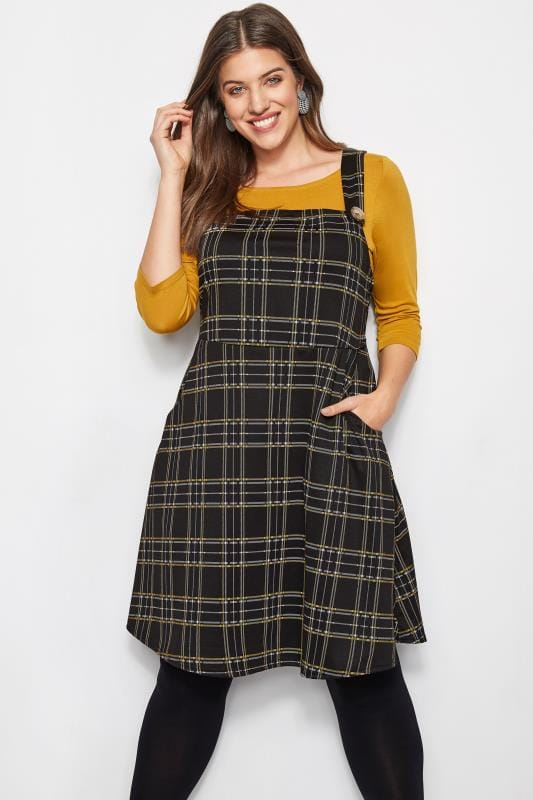 Plus Size Skater Dresses Black & Yellow Check Pinafore Dress