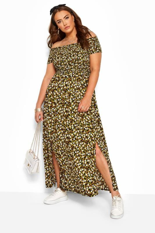 Plus Size Maxi Dresses Black & Yellow Ditsy Floral Shirred Bardot Maxi Dress