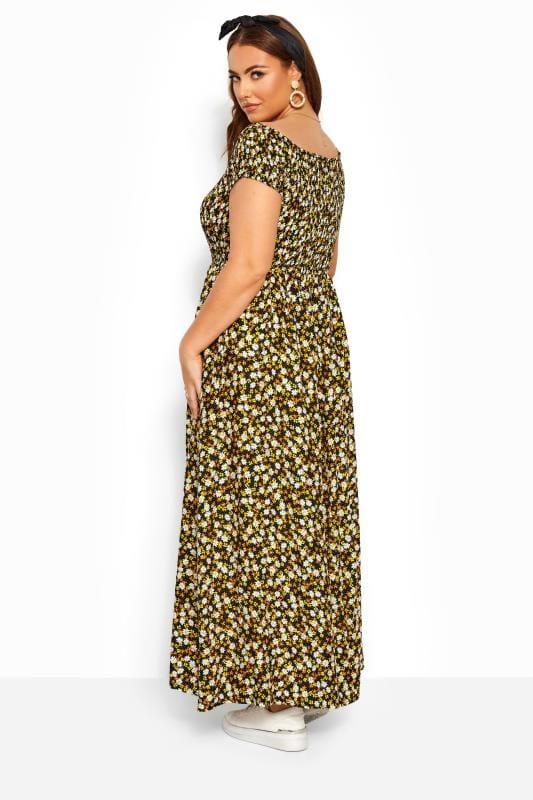 Black & Yellow Ditsy Floral Shirred Bardot Maxi Dress
