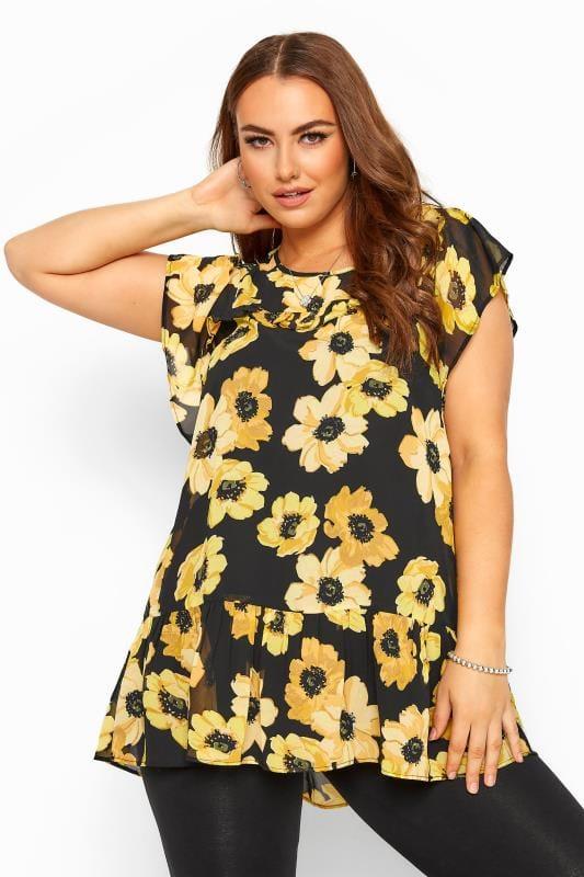 Black & Yellow Floral Frill Chiffon Blouse