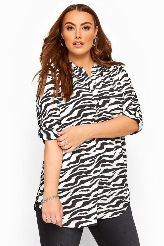 Plus Size Shirts Black Zebra Print Shirt
