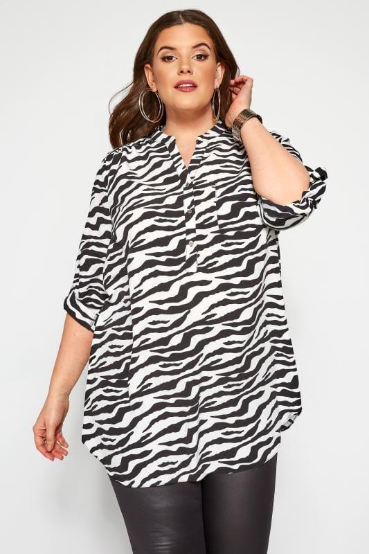 Große Größen Shirts Hemd in Zebra-Muster - Schwarz/Weiß