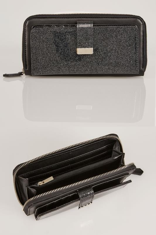 Bags & Purses Black Zip Around Purse With Front Glitter Detail Wallet