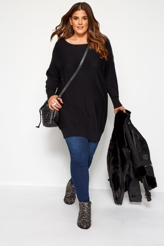 Plus Size Knitted Tops & Jumpers Black Zip Knitted Tunic