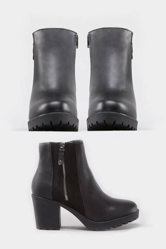 Black Zip Platform Ankle Boot In Extra Wide Fit