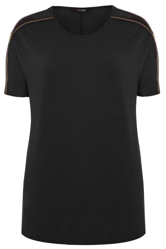 Tops Cómodos Tallas Grandes Camiseta negra cremallera hombros