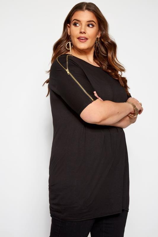 Plus Size Jersey Tops Black Zip Shoulder Top