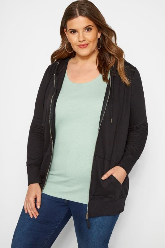 Plus Size Sweatshirts & Hoodies Black Zip Through Hoodie