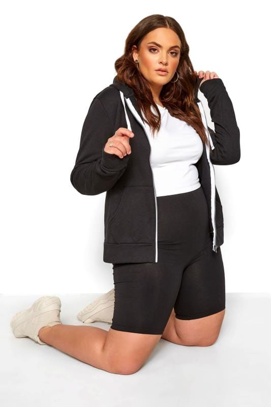 Plus Size Beauty Black Zip Through Hoodie