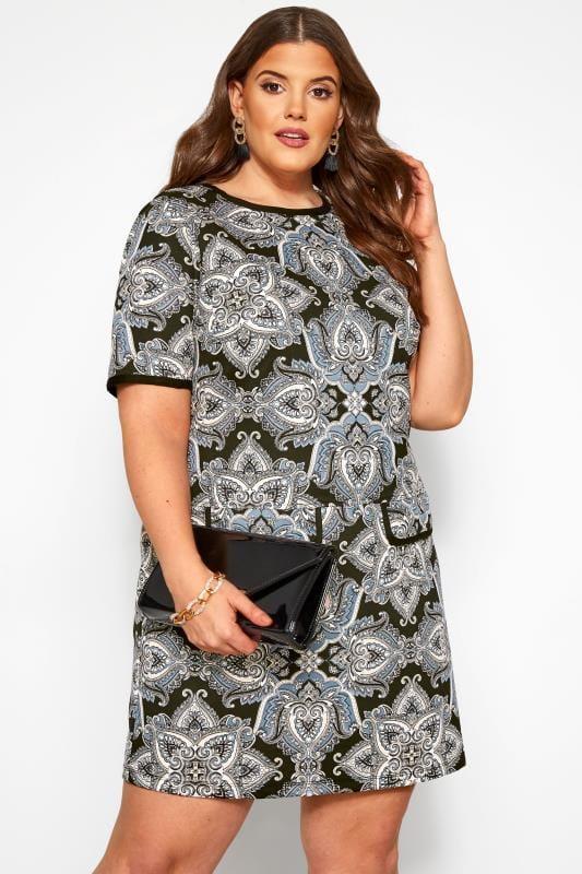 Tunika-Kleid mit Paisley-Muster - Schwarz/Blau   Yours ...
