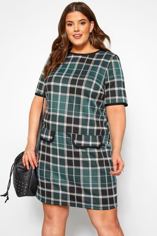 Plus Size Casual Dresses Black and Green Check Tunic