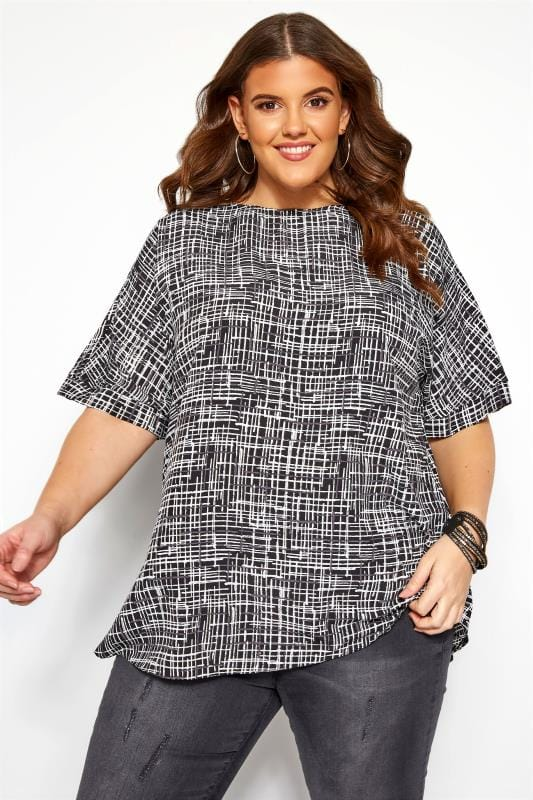 Plus Size Day Tops Black and Grey Crosshatch Keyhole Back Top