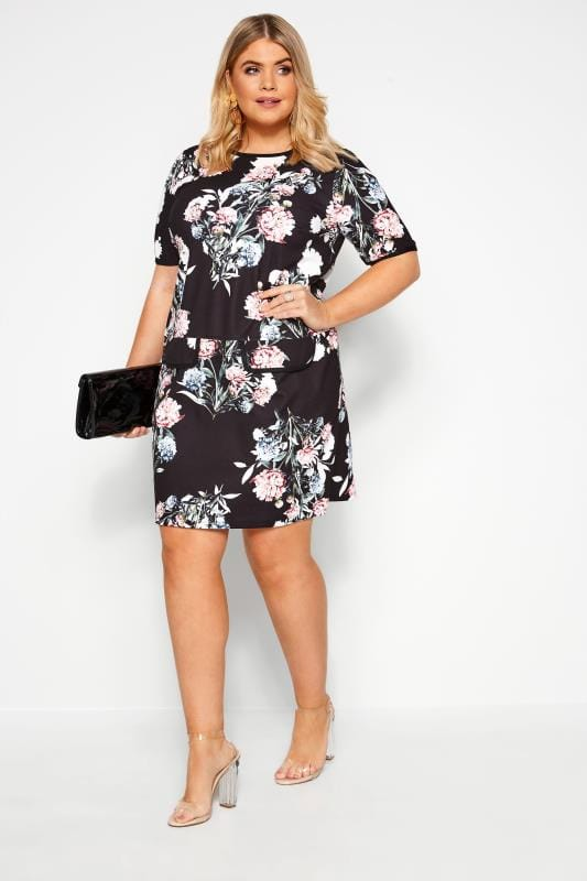 Black and Pink Floral Tunic