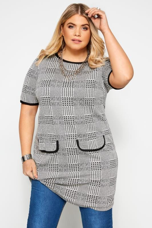 Plus Size Casual Dresses Black and White Dogtooth Check Print Tunic