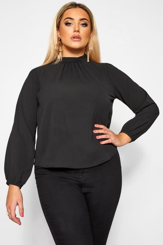 Plus Size Party Tops LIMITED COLLECTION Black Balloon Sleeve Blouse