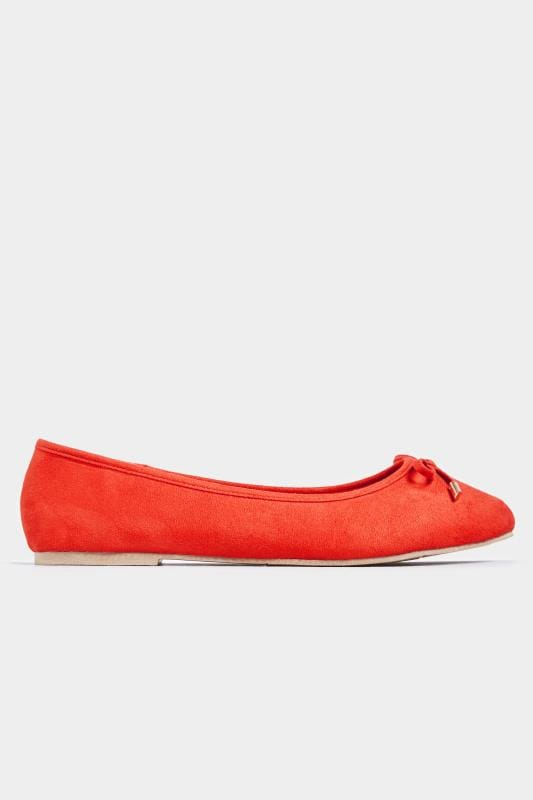 Red Ballerina Pumps In Extra Wide Fit