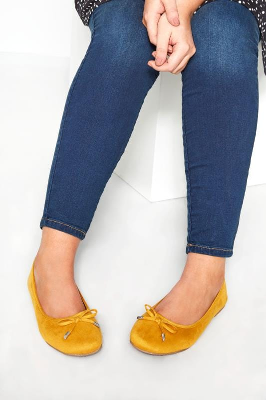 Wide Fit Flat Shoes Mustard Yellow Ballerina Pumps In Extra Wide Fit