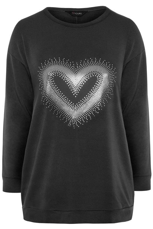 Black Foil Heart Print Sweatshirt