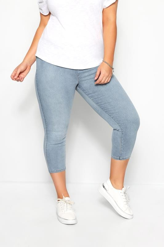 Plus-Größen Jeggings Bleach Blue Cropped JENNY Jeggings