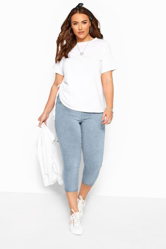 Plus Size Jeggings Bleach Blue Cropped JENNY Jeggings