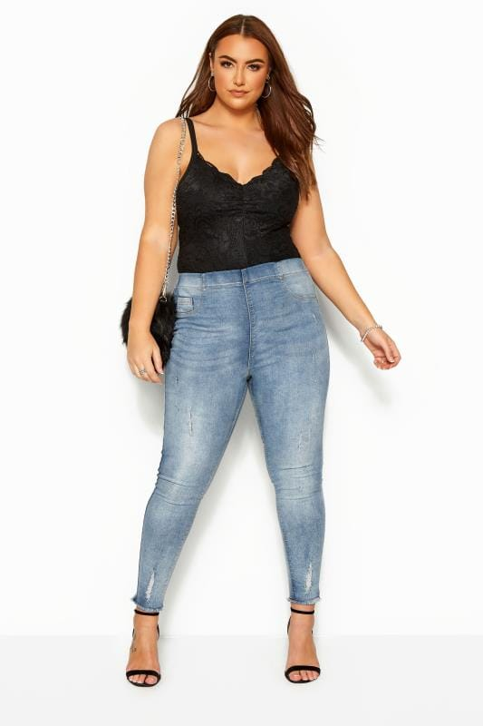 Plus Size Jeggings Bleach Blue Distressed Cat Scratch JENNY Jeggings