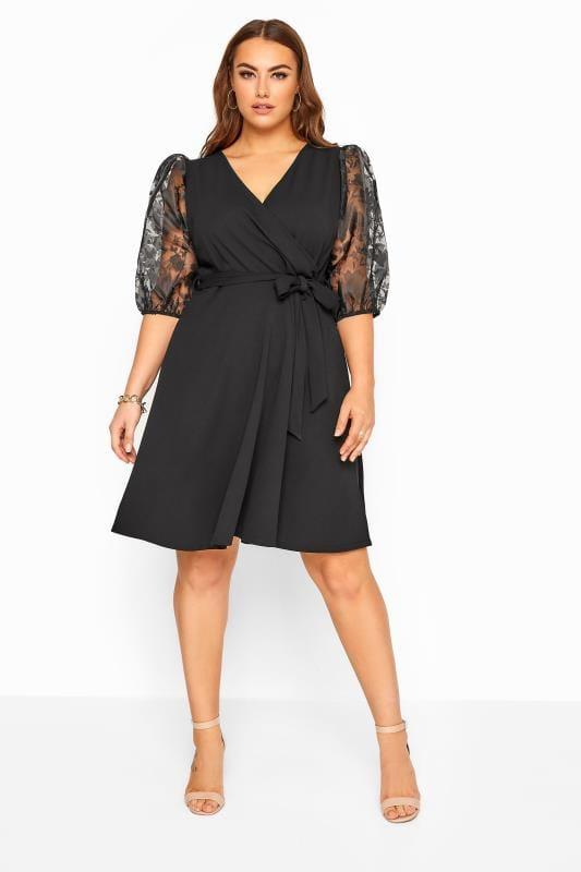 Plus Size Wrap Dresses YOURS LONDON Black Floral Organza Puff Sleeve Wrap Dress