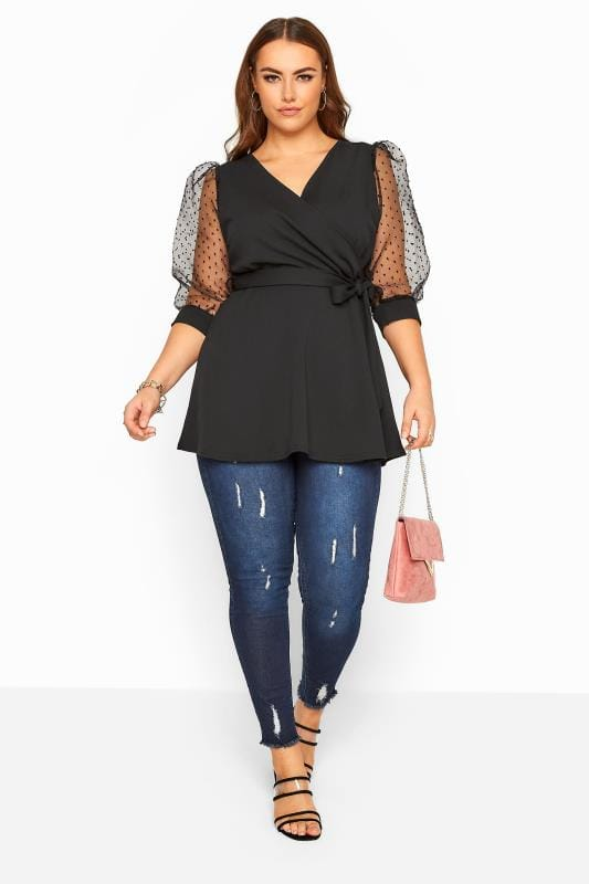 YOURS LONDON Black Dobby Organza Sleeve Wrap Top