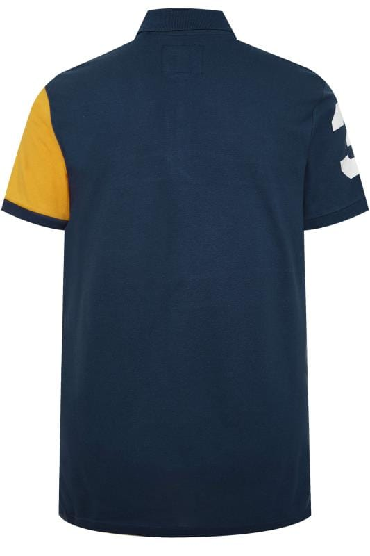 BadRhino Navy Colour Block Stripe Polo Shirt