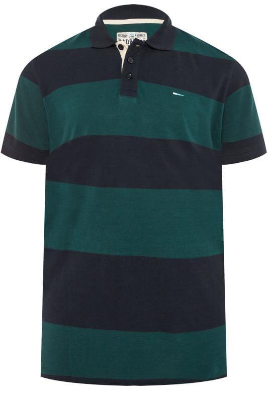 T-Shirts Tallas Grandes BadRhino Navy & Green Block Striped Polo Shirt
