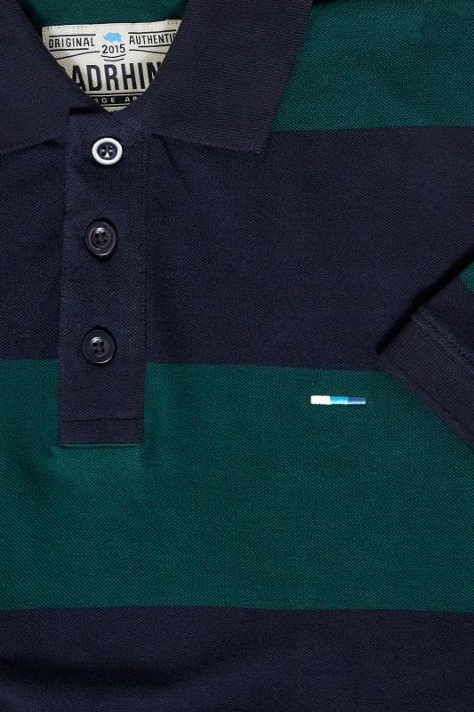 BadRhino Navy & Green Block Striped Polo Shirt