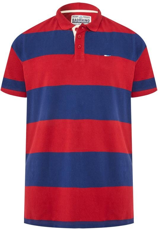 Polo Shirts Grande Taille BadRhino Red & Blue Striped Polo Shirt
