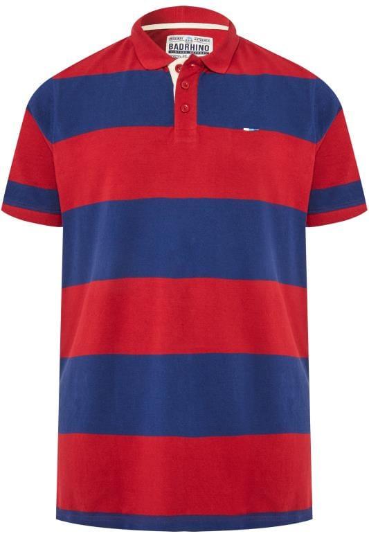 Polo Shirts Tallas Grandes BadRhino Red & Blue Striped Polo Shirt