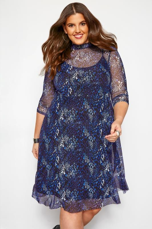 Plus Size Casual Dresses Cobalt Blue Animal Print Mesh 2 in 1 Dress